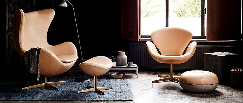Republic of Fritz Hansen Egg Chair, Hocker und Swan Chair Limited Edition